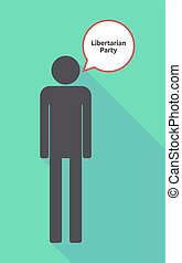 Long shadow male pictogram with the text Libertarian Party -...
