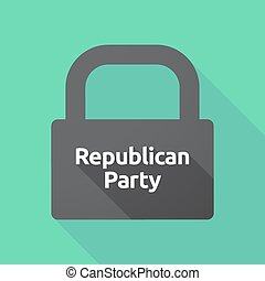 Long shadow lock with the text Republican Party -...
