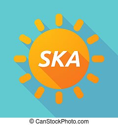 Long shadow Sun with the text SKA - Illustration of along...