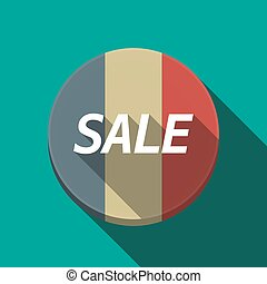 Long shadow  round button with    the text SALE