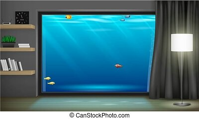 Interior underwater hotel with panoramic window. Footage...