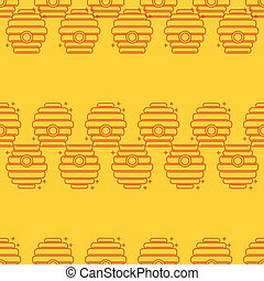 Seamless pattern apiary and beekeeping. Beehives. -...