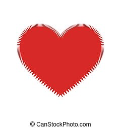 Heart with thorns on white background illustration