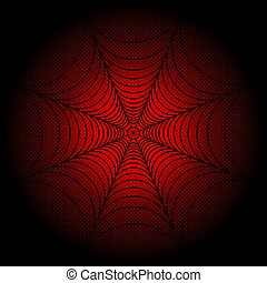spider web, cobweb on red dotted background. Vector...