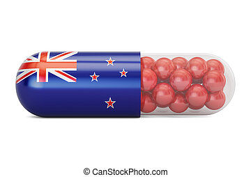 Pill capsule with New Zealand flag, 3D rendering