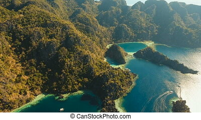 Aerial view Twin lagoon, sea, beach. Tropical island....