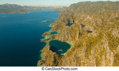 Aerial view Twin lagoon, sea, beach. Tropical island....