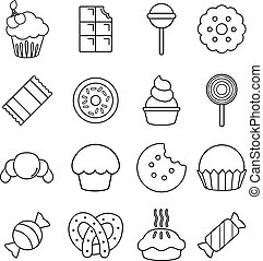 Sweets candy cakes icons set, outline style - Sweets candy...