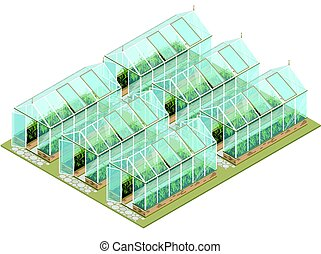 Isometric greenhouse farm with glass walls and foundations....