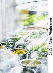 salad bar buffet fresh mixed vegetables display - salad bar...