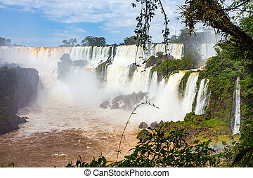 famous Iguacu falls - view of famous Iguacu falls at the...