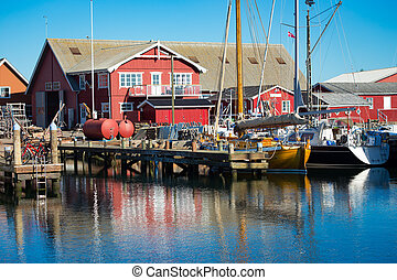 harbor with fishing boats at the north of Denmark - harbor...