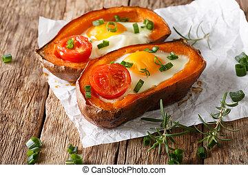 Nourishing food: stuffed sweet potato with fried egg and...