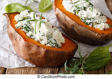 Baked yam filling with spinach and cream cheese macro on the...
