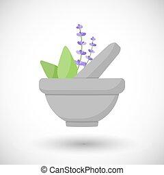 Mortar herbs vector flat icon