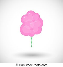 Cotton candy flat vector icon - Cotton candy floss icon,...