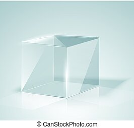 Glass Cube. Transparent Cube