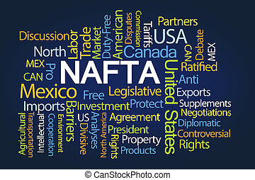 NAFTA Word Cloud on Blue Background
