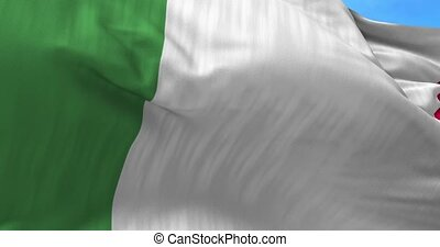 Italy Flag in the Wind - Close up Italy flag blowing in the...