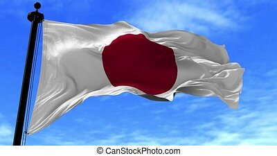 Japan Flag in the Wind - Close up Japan flag blowing in the...