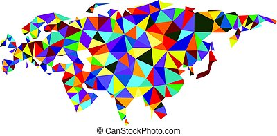 Colorful mosaic abstract Eurasia map. - Colorful mosaic...