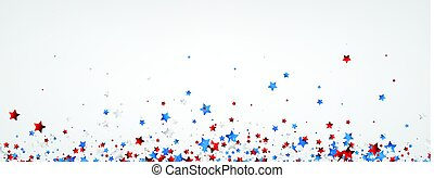 White banner with colorful stars.