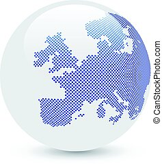 Blue and white abstract globe.