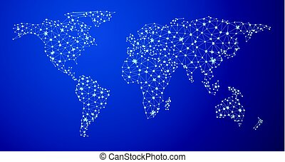 Blue global communications world map. - Abstract blue global...