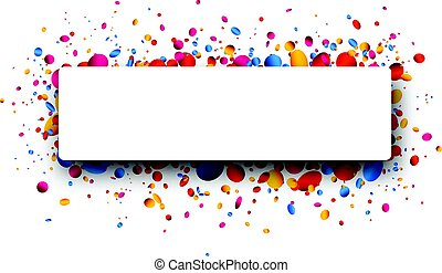Rectangular background with colorful confetti. - White...