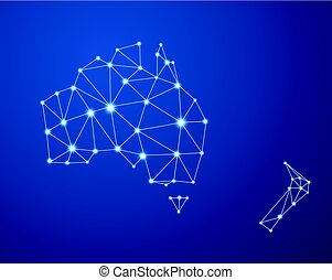 Blue abstract Australia communications map.