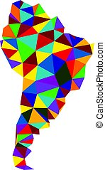Colorful abstract South America map.