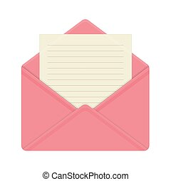 Letter in open pink envelope