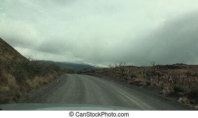 Road to mountains and coast line ocean in Argentina. Scenic...