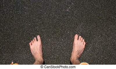 Foot in the seaMan foot in the sea while waves splash and...