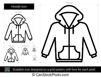 Hoodie line icon. - Hoodie vector line icon isolated on...
