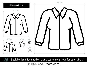 Blouse line icon. - Blouse vector line icon isolated on...