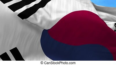 South Korea Flag in the Wind - Close up South Korea flag...