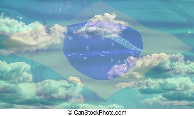 Brazil Sky Flag - Waving flag of Brazil, green blue white...