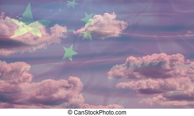 China Sky Flag - 3D waving Chinese flag with five yellow...