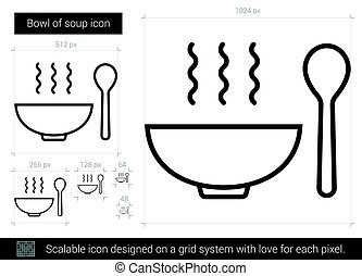 Bowl of soup line icon. - Bowl of soup vector line icon...