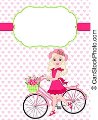 Vector Card Template with a Beautiful Girl and Bicycle on Hearts Background.
