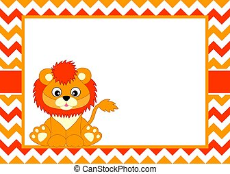 Vector Card Template with a Cute Lion on Chevron Background. Vector Baby Lion.