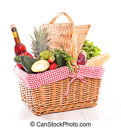 raw fruit and vegetable in wicker basket