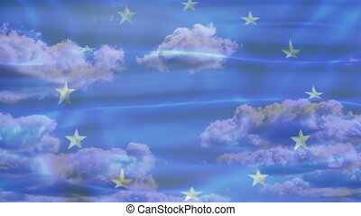Europe Sky Flag - Waving flag of Europe, blue with yellow...