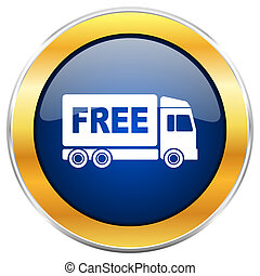 Free delivery blue web icon with golden chrome metallic...
