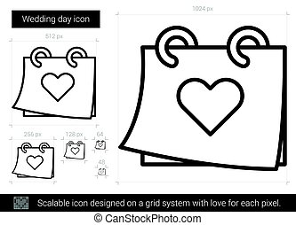 Wedding day line icon. - Wedding day vector line icon...
