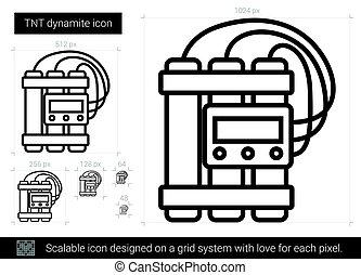 TNT dynamite line icon. - TNT dynamite vector line icon...