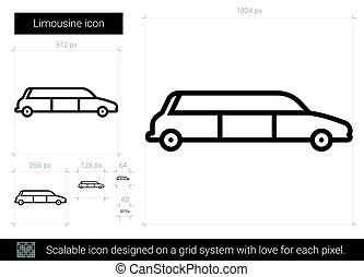 Limousine line icon. - Limousine vector line icon isolated...