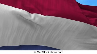 Netherlands Flag in the Wind - Close up Netherlands flag...