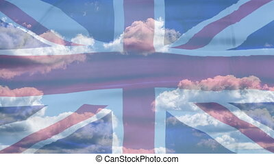 United Kingdom Sky Flag - Waving flag of United Kingdom of...
